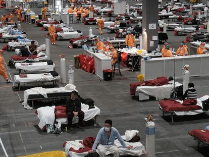 El pabellón de Ifema de Madrid que se ha convertido en hospital para enfermos de coronavirus. PEDRO ARMESTRE