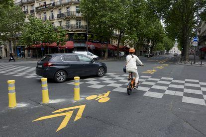 Carril bici temporal abierto en la ciudad durante la pandemia, en una imagen de mayo de 2020.