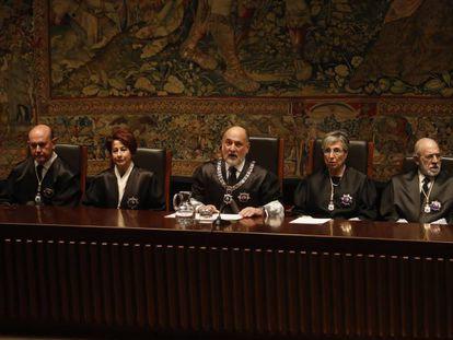 Toma de posesión de cuatro magistrados del Tribunal Constitucional el pasado marzo.