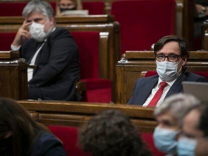 Salvador Illa en el pleno del Parlamento catalán, el 7 de julio.