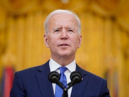 Joe Biden, durante su discurso en un acto por el Día Internacional de la Mujer, este lunes, 8 de marzo.