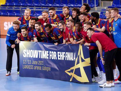 Los jugadores celebran la clasificación para la Final a Cuatro tras eliminar al Brest.