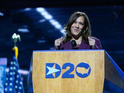Kamala Harris, este miércoles durante su discurso en Wilmington, Delaware.