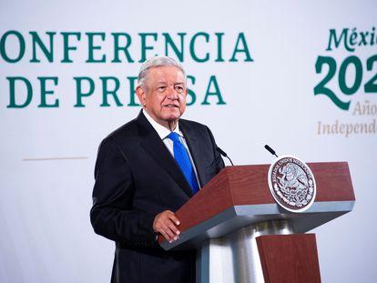 Andrés Manuel López Obrador, durante una conferencia de prensa matutina en el Palacio Nacional,