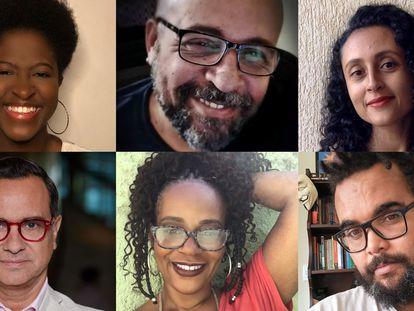 Olympio, el jefe del equipo de guionistas afrobrasileños (arriba en el centro) y Cuervo, director de VIS Américas (abajo a la izquierda), con varios de los escritores.