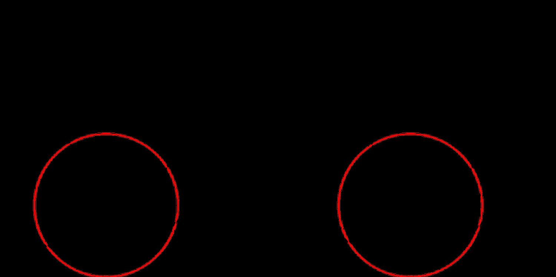 El nudo de Conway (derecha) y el nudo de Kinoshita-Terasaka (izquierda) son mutantes, es decir, uno puede obtenerse a partir del otro girando el círculo rojo.