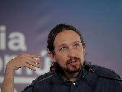 El secretario general de Podemos y vicepresidente del Gobierno, Pablo Iglesias, en un acto electoral en Galicia.