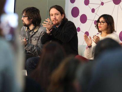 Encuentro Pablo Iglesias con miembros de redes sociales.