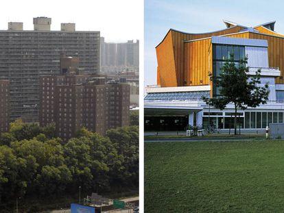 A la izquierda, los 'projects' del Bronx, en Nueva York (Estados Unidos). A la derecha, la Berliner Philharmonie (1963), de Hans Scharoun, en la Berlín occidental. |