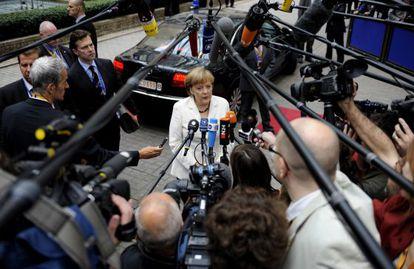 Merkel, a la entrada de la cumbre esta mañana.