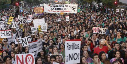 La manifestación contra las reválidas en Madrid.
