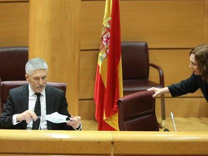 El ministro de Interior, Fernando Grande-Marlaska, se coloca la mascarilla durante su comparecencia ante la Comisión de Interior en el Senado.