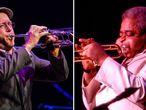 Dave Douglas en el London Jazz Fastival de 2014 y Dizzy Gillespie en Chicago en 1995.