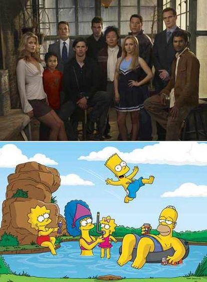Arriba, los protagonistas de la producción televisiva <i>Héroes.</i> Abajo, una imagen de la serie de animación <i>Los Simpson.</i>