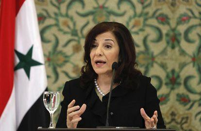 La asesora de medios del presidente sirio, Buthaina Shaaban, durante la rueda de prensa en Damasco.