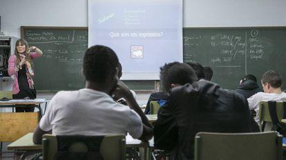 Alumnos de secundaria en un instituto catalán.