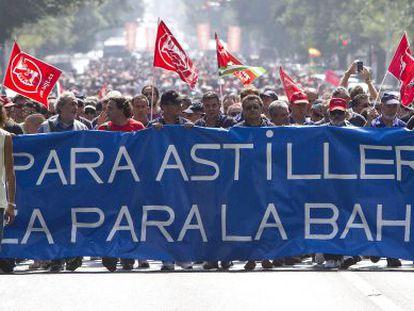 Manifestación de trabajadores de los astilleros de la bahía gaditana.