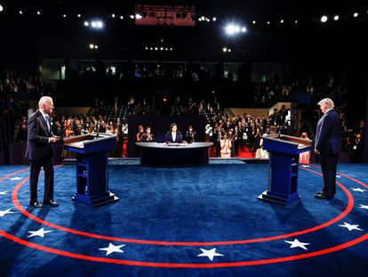 El último debate de Trump y Biden, en imágenes