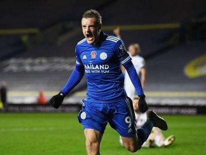 Jamie Vardy celebra un gol ante el Leeds hace una semana.