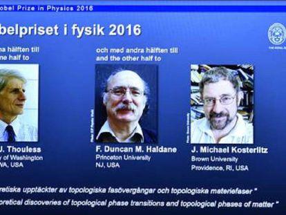 Los premiados con el Nobel de Física 2016.