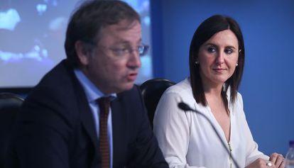 Moraguez y Català ayer durante su comparecencia pública tras el Consell.