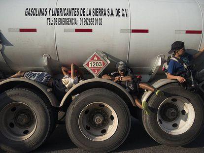 Miembros de la Caravana de Migrantes, camino de la frontera con EEUU.