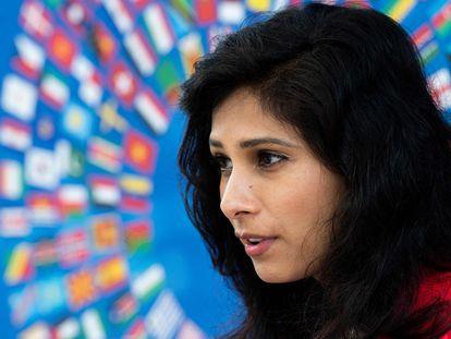 La economista jefa del FMI, Gita Gopinath, el miércoles, poco antes de la entrevista.