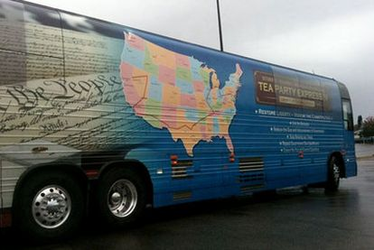 Autobús de la caravana Tea Party Express, en Nashville (Tennessee).