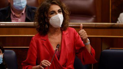 La ministra de Hacienda, María Jesús Montero, la semana pasada en el Congreso.
