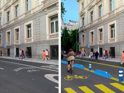 Propuesta de reorganización del Paseo de la Castellana, en la línea de las recomendaciones de los expertos de reducrir el tráfico de vehículos. El carril-bus que desaparece de la imagen pasaría a la calzada central del paseo. |
