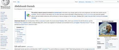 Entrada en Wikipedia, en inglés, sobre el escritor Abdulrazak Gurnah, premio Nobel de Literatura 2021.