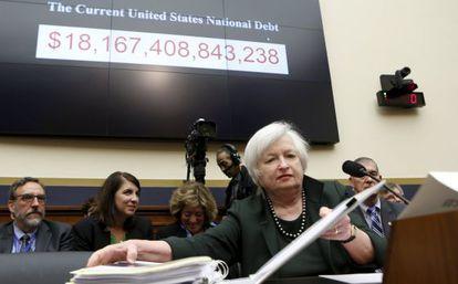 La presidenta de la Fed, Janet Yellen, este miércoles en el Capitolio.