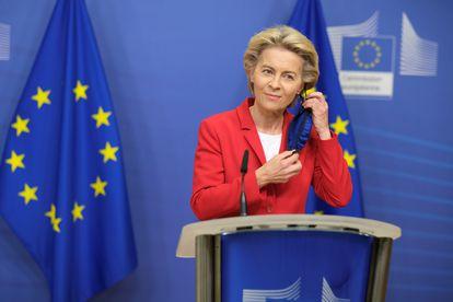 La presidenta de la Comisión Europea, Ursula von der Leyen, durante su comparecencia en Bruselas.