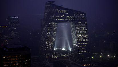 Sede de la televisión estatal china CCTV en Pekín, un edificio de diseño de 44 plantas.