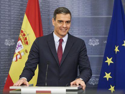 El presidente del Gobierno, Pedro Sánchez, esta semana en su viaje por las repúblicas bálticas.