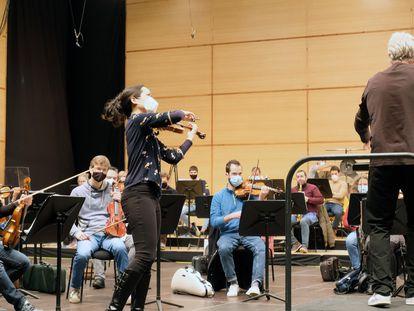 Ensayo de la Orquesta Sinfónica de Galicia para el concierto de este viernes, en una imagen cedida.