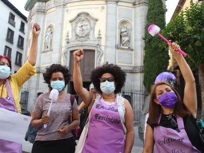 Protesta de trabajadoras domésticas, el 16 de junio en Madrid.