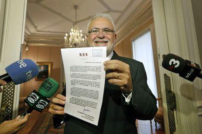 Juan Cotino, el pasado mes, cuando presentó su dimisión como presidente de las Cortes valencianas.