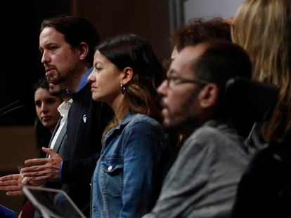 El líder de Podemos, Pablo Iglesias, en la comparecencia tras la difusión de los resultados de las elecciones generales, el 28 de abril de 2019.