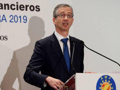 En vídeo, el gobernador del Banco de España, Pablo Hernández de Cos, en la conferencia anual de la Asociación de Mercados Financieros.