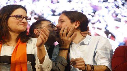 Oltra, Monedero e Iglesias, este viernes en Valencia.