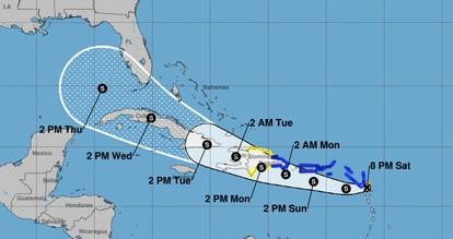 El pronóstico del Centro Nacional de Huracanes del avance de la tormenta Grace.