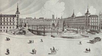 Proyecto para derruír uno de los laterales del la Plaza Mayor y construir en su lugar una escalinata.