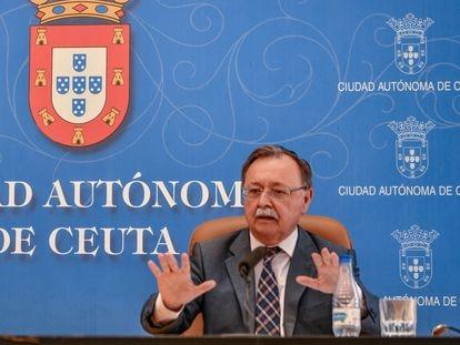 El presidente de Ceuta, Juan Jesús Vivas, en una rueda de prensa el pasado martes en la ciudad autónoma.