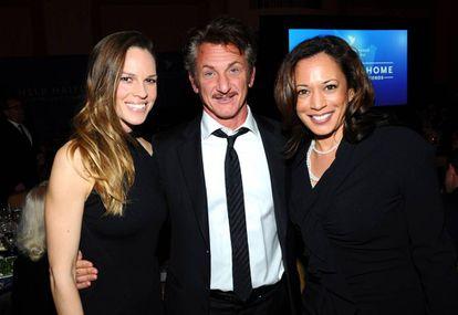 Con Hilary Swank y Sean Penn. Los Ángeles, 2012.