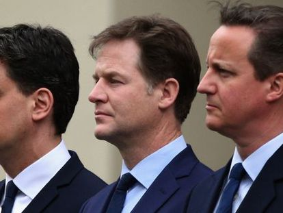 Ed Miliband, Nick Clegg, David Cameron.