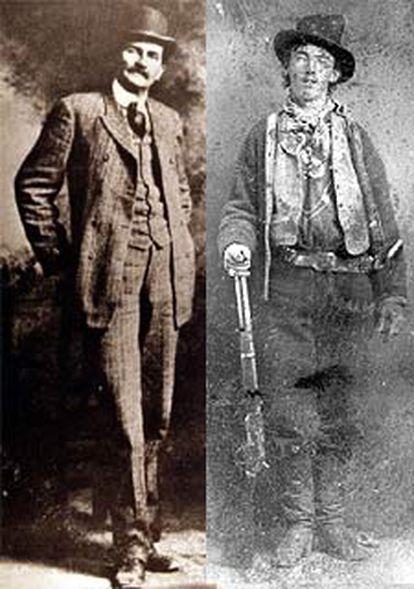 Pat Garrett (izquierda) y Billy el Niño, en fotografías de museos estadounidenses.