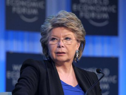 La vicepresidenta de la CE, Viviane Reding, en Davos.