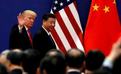 El presidente de EE UU, Donald Trump, y su homólogo Xi Jinping en un encuentro en Pekín en noviembre de 2017.
