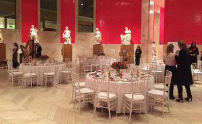 El salón de las Musas, en el Prado, listo para una cena privada.